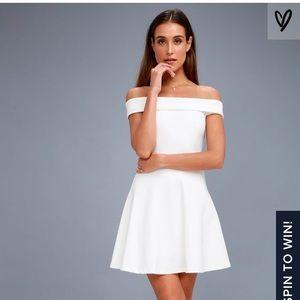 Lulu's off-the-shoulder White Skater Dress